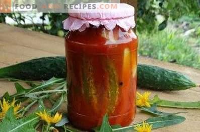 Gurķi tomātu mērcē ziemai