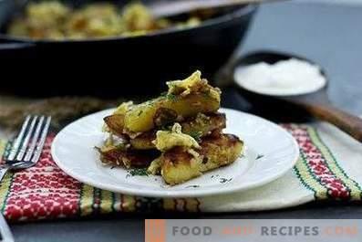 Ziemniaki smażone z cebulą, czosnkiem i jajkami