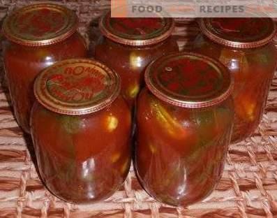 Gurķi tomātu pastā ziemai